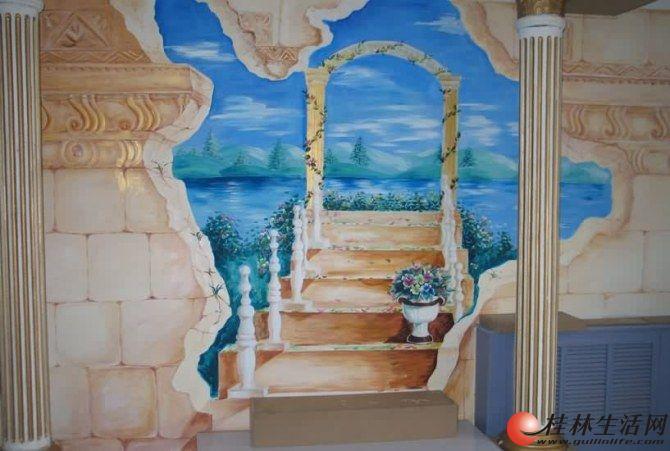 【艺景坊墙体手绘】家庭手绘背景墙 大型壁画 雕塑 园林景观 假山 假
