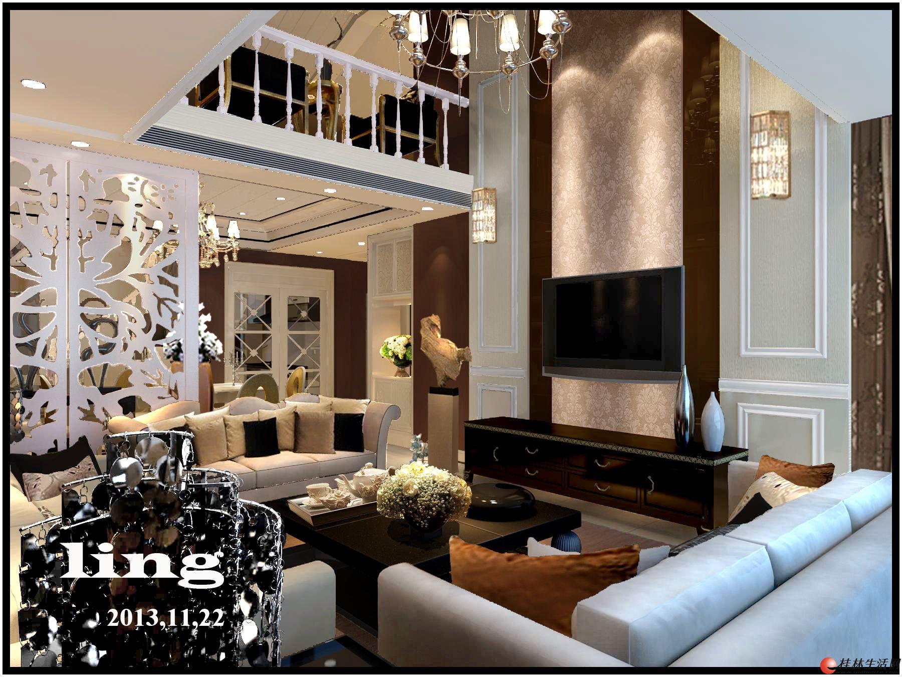 复式楼中空客厅装修,复式楼客厅装修效果图,复式楼楼梯客厅效果高清图片