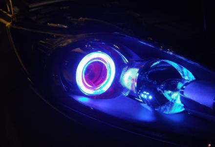 桂林爱驹专业汽车照明 飞利浦广西区认定店 福特嘉年华改灯13317830918Q5 红眼篮圈 爱