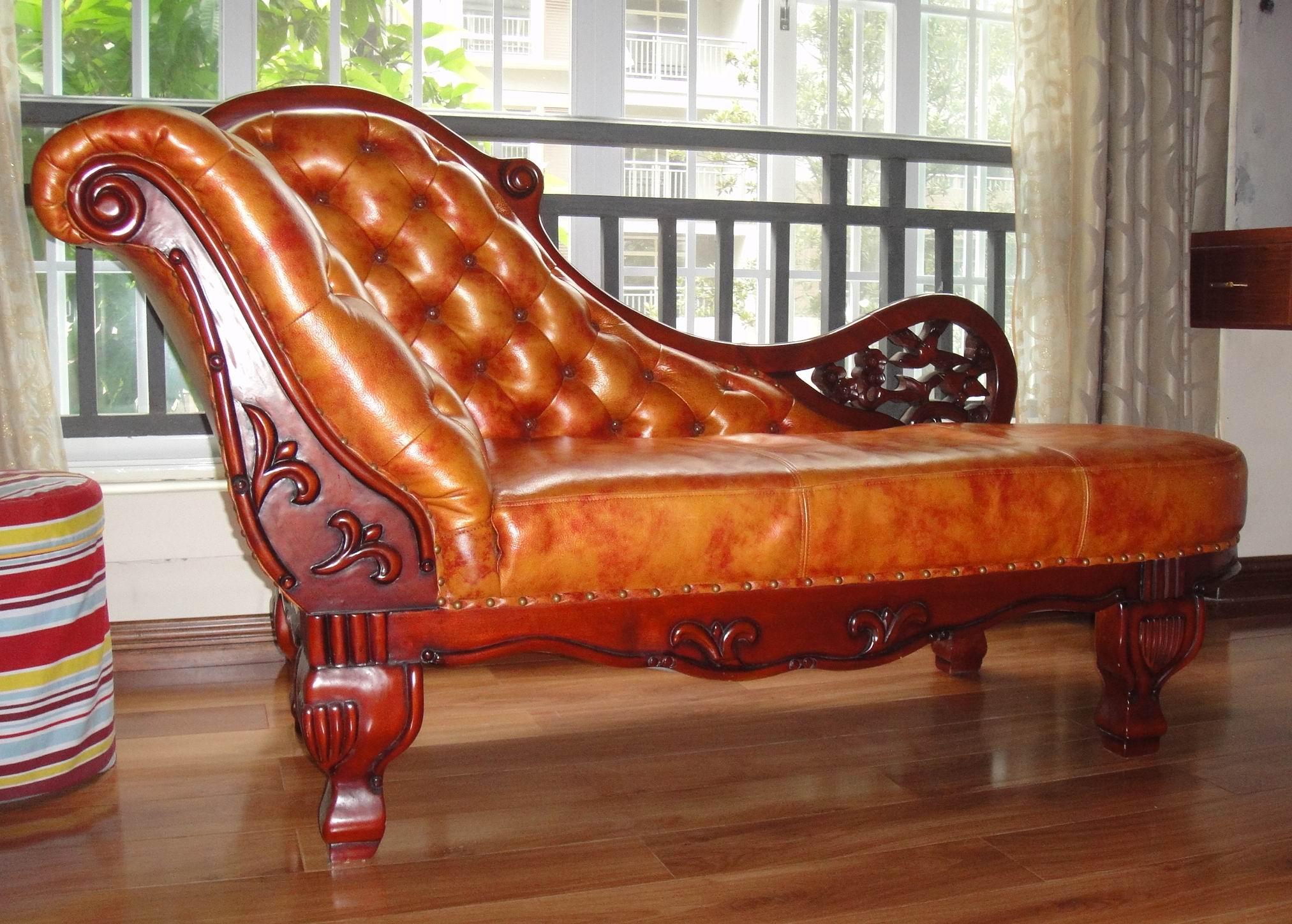 实木真皮休闲贵妃椅转让