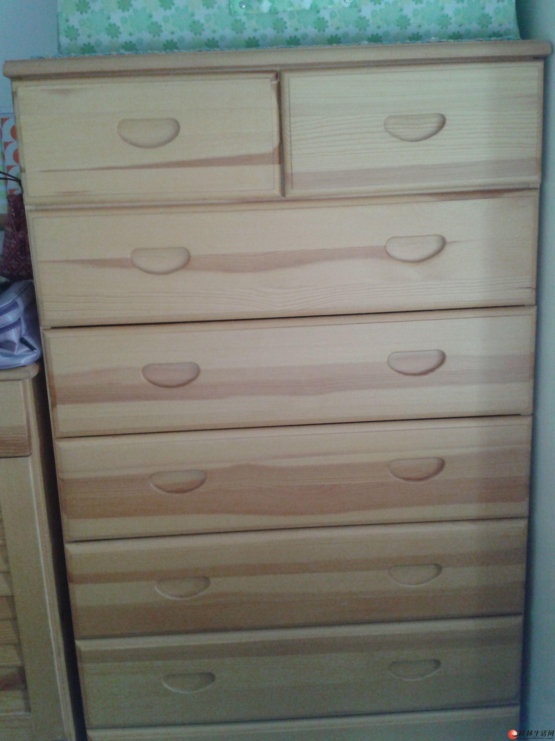 5成新卧室全套实木松木家具-床,衣柜,七斗柜,梳妆台及梳妆凳,床垫-机