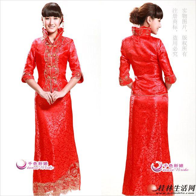 金丝绣花长旗袍-中式礼服红色敬酒服 白色披肩 皇冠 套链 红珠插花