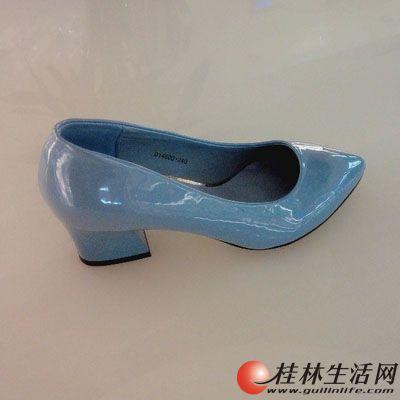 茵斯帕2014秋季新款尖头中跟粗跟方跟舒适女鞋蓝色单鞋 高清图片