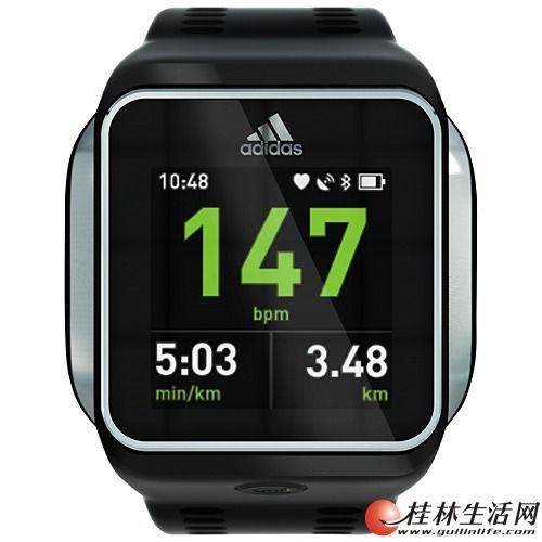 阿迪达斯adidas智能手表micoach smart run watch测心率 高清图片