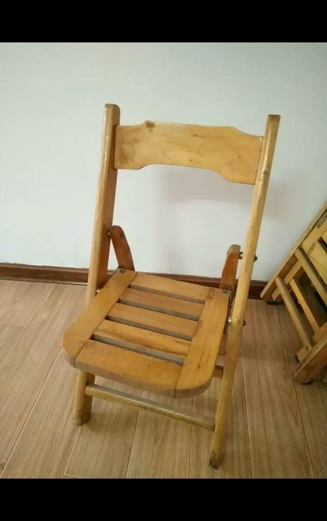 转让78成新实木折叠椅折叠板凳子靠背椅