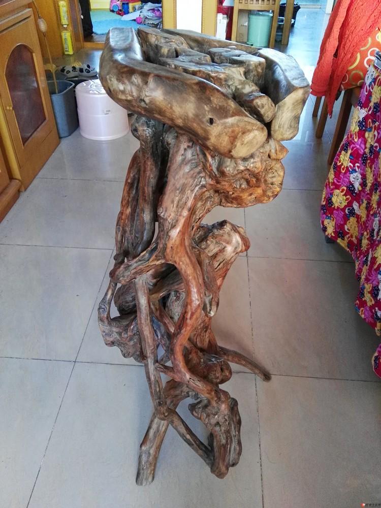 自用实木根雕花盆架,低价处理, 高度0.8米,直径0.35米