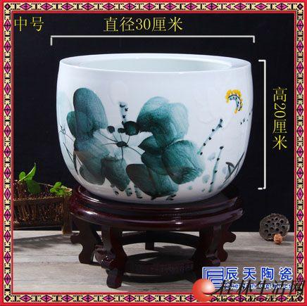 陶瓷鱼缸大号聚宝盆景德镇乌龟缸金鱼缸富贵满堂风水摆件