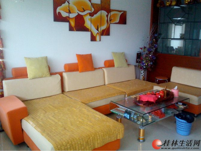 出售一套布艺沙发和一张雅虎牌床