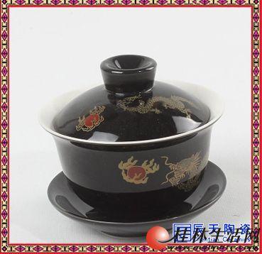 甜白釉景德镇纯手工盖碗茶杯茶具茶碗薄胎三才盖碗