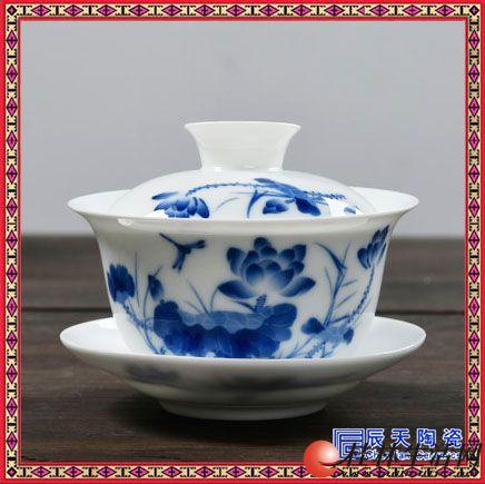 兰花陶瓷盖碗茶杯 纯手工薄胎双线三才手抓盖碗 陶瓷玄纹盖碗