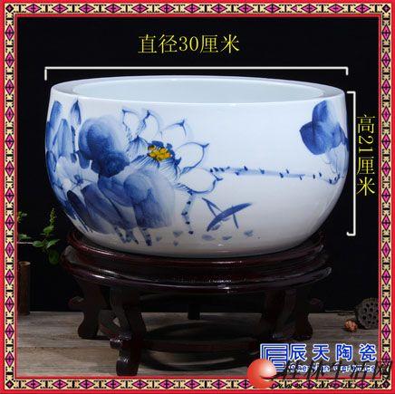 古典陶瓷鱼缸聚宝盆手绘青花佛像中式软装家居摆件禅意装饰