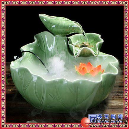 家居风水轮陶瓷小和尚流水摆件喷泉招财加湿器鱼缸水景办公室