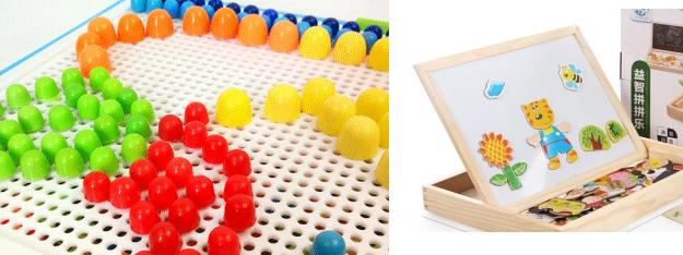 小孩玩具(太空沙+磨具+蘑菇钉+儿童磁性拼拼乐拼图积木益智玩具+不同儿童积木)