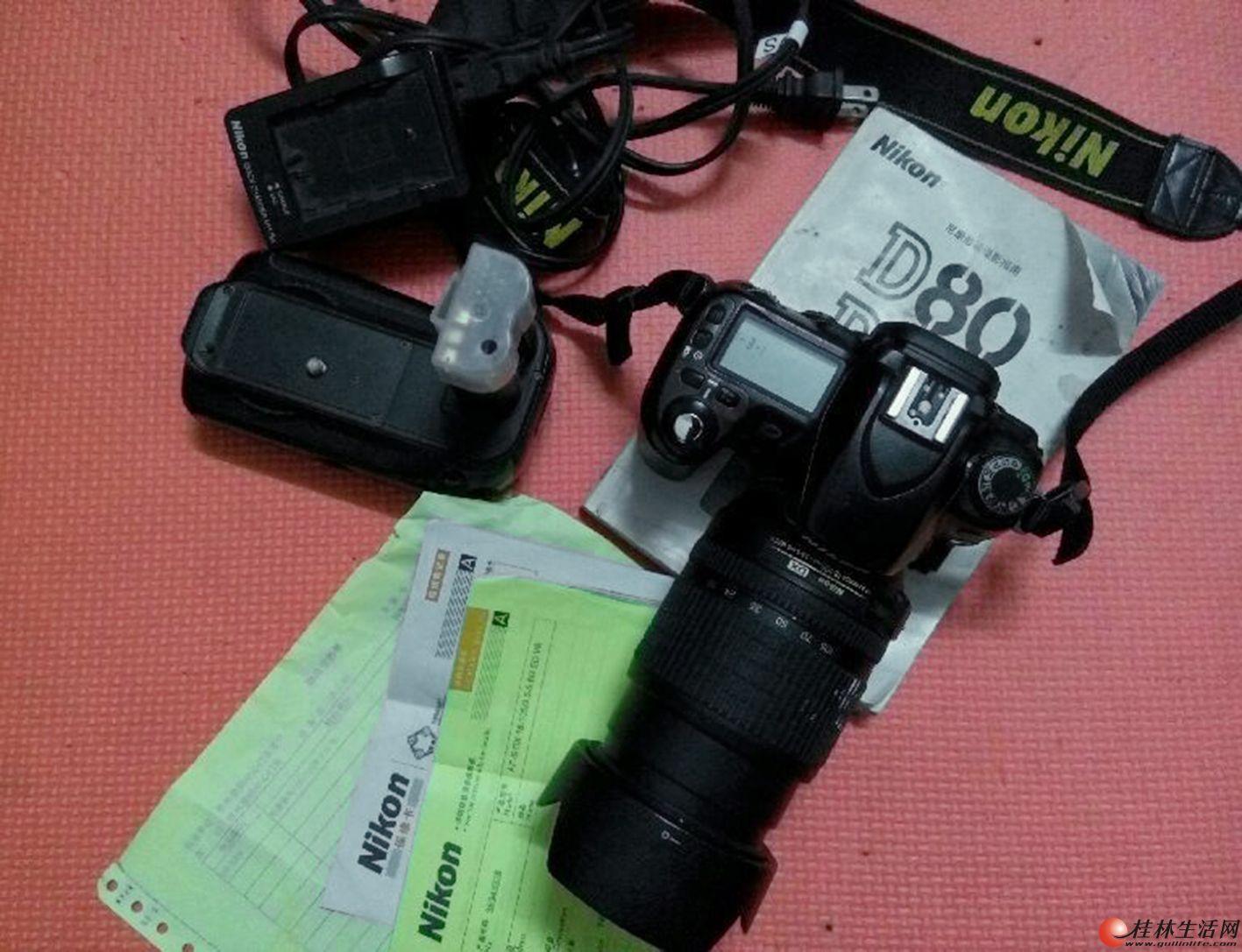 急出尼康D80数码单反相机,配有18~105防抖镜头,一套便宜卖
