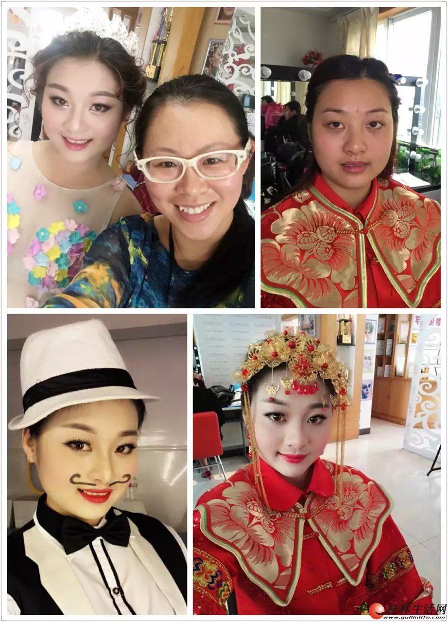 新娘化妆跟妆200元起桂林第六感化妆纹绣学校