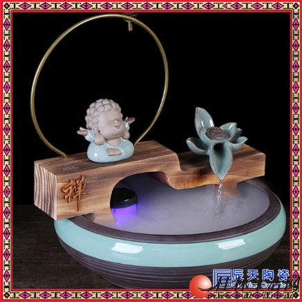 葫芦流水喷泉加湿器瓷器 饰品陶瓷流水喷泉加湿器招财小水景