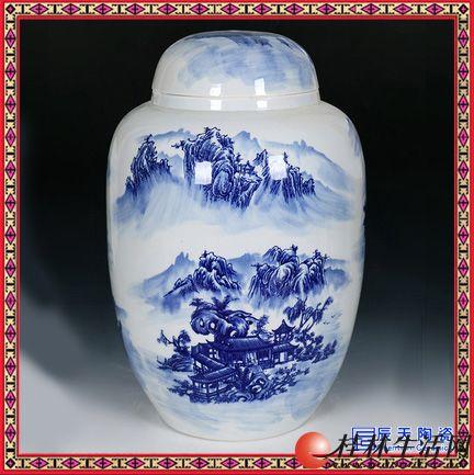 景德镇青花瓷山水人物1斤2斤3斤5斤密封陶瓷酒瓶家用散装