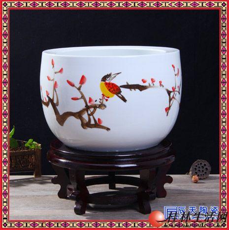 高档名人名作手绘水浅水缸大金鱼缸乌龟缸聚宝盆景德镇陶瓷