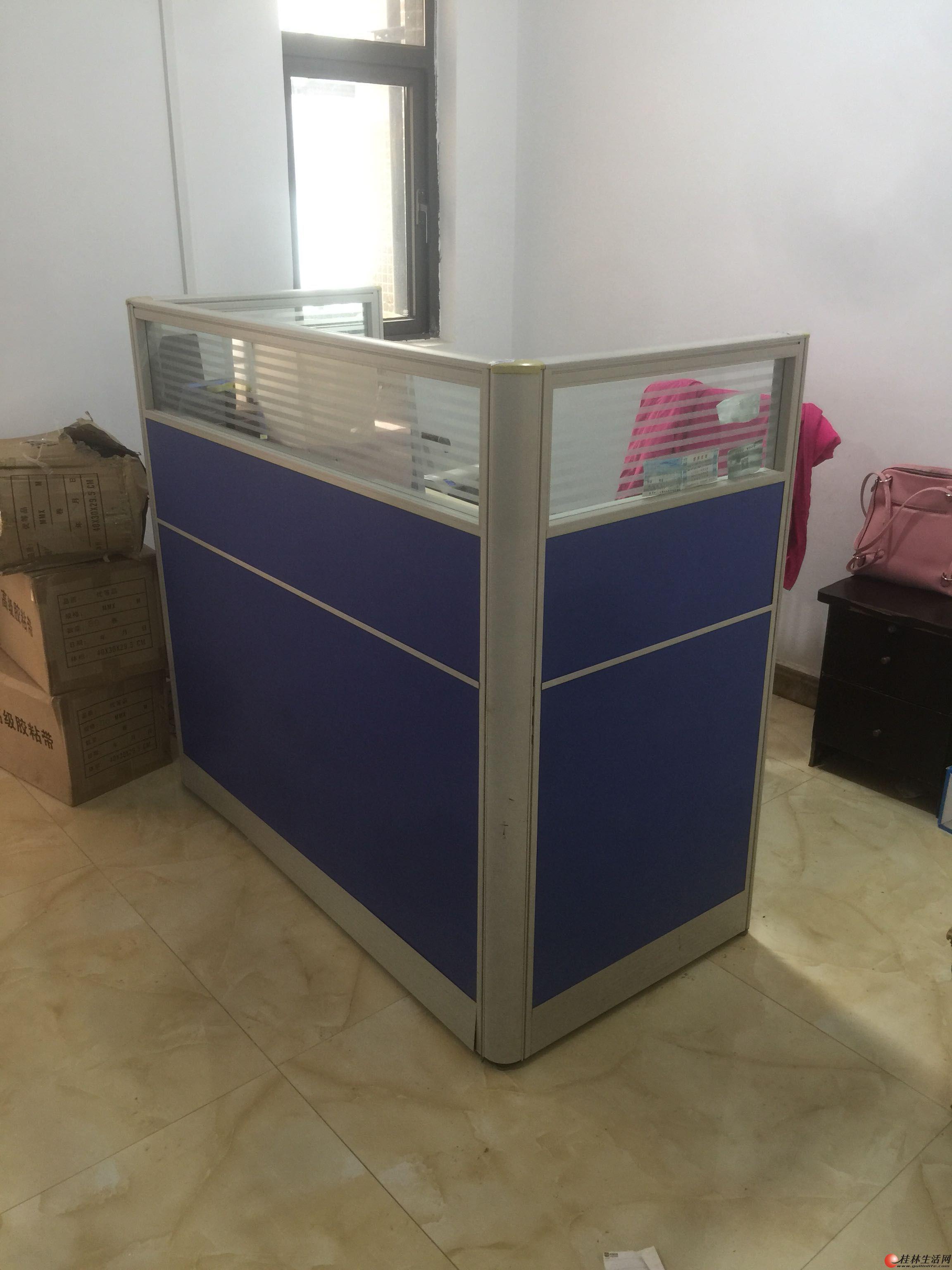 蓝色玻璃经典款办公桌 办公家具职员屏风办公桌1.2米宽