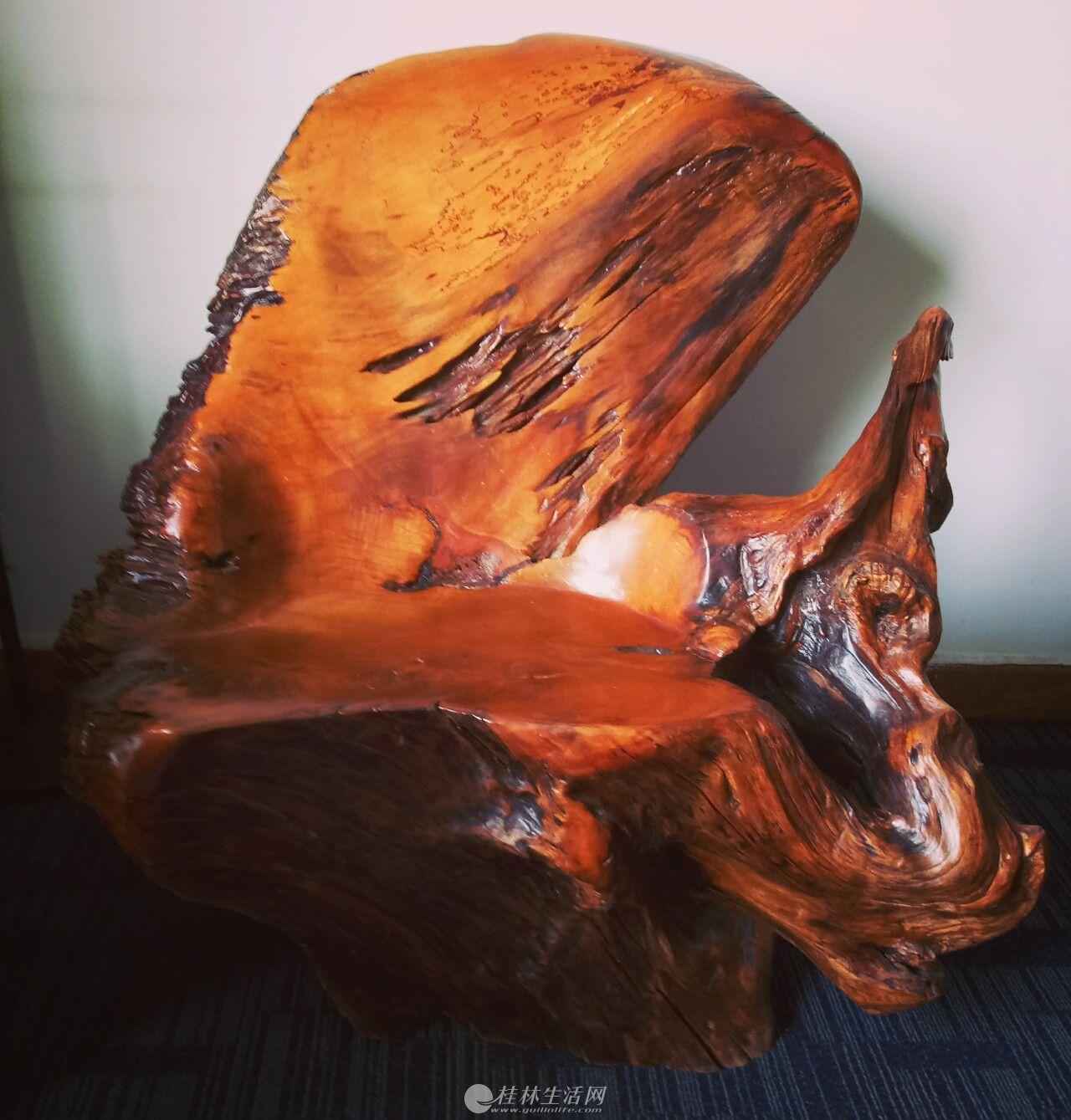 个藏多年榉木老树根整板靠椅