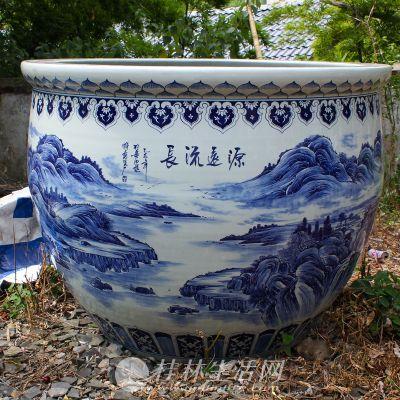 景德镇陶瓷缸批发 高档礼品大缸 手绘青花瓷大缸 收藏品大缸