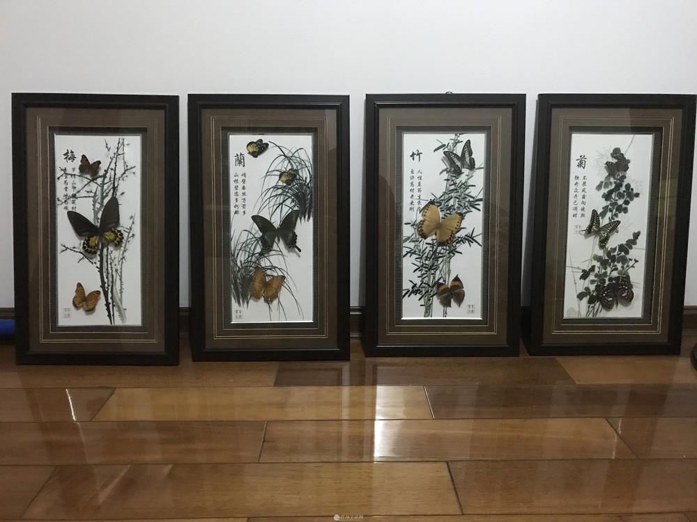 梅兰竹菊镜框画,高贵典雅