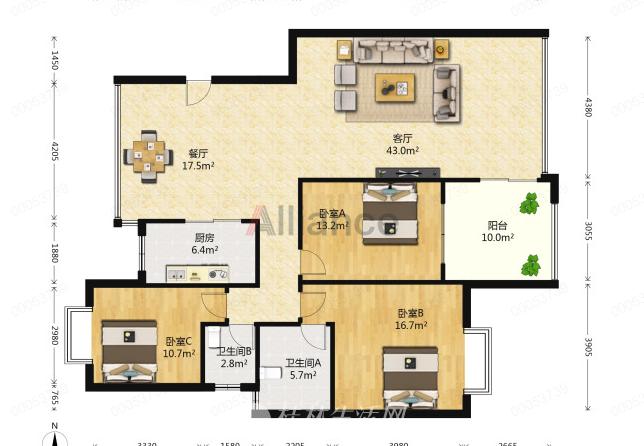V真实在售 临桂长岛16区 大三房两厅 136平米 72万 电梯8楼