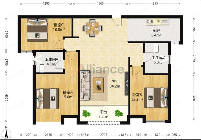 LI临桂兴汇城,120平大三房,性价比超高,真实在售,拎包入住