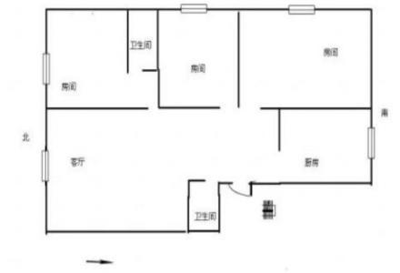 八里街万家乐 3室2厅2卫 5楼 南北通透 三面采光