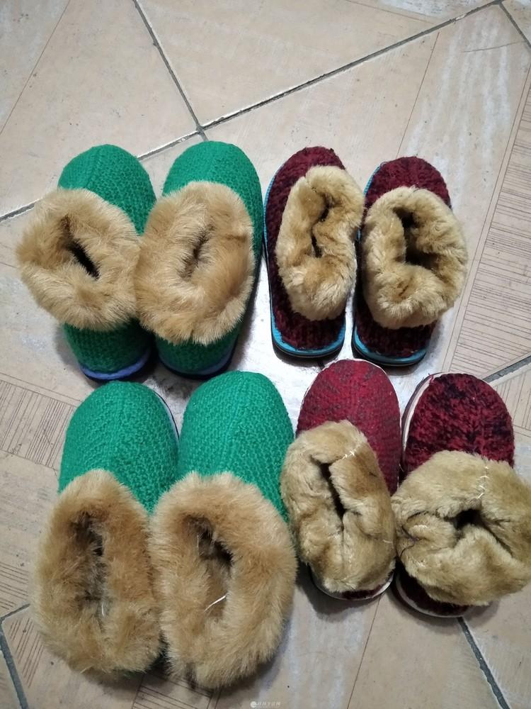 真正纯手工毛线勾的加毛绒幼儿冬鞋
