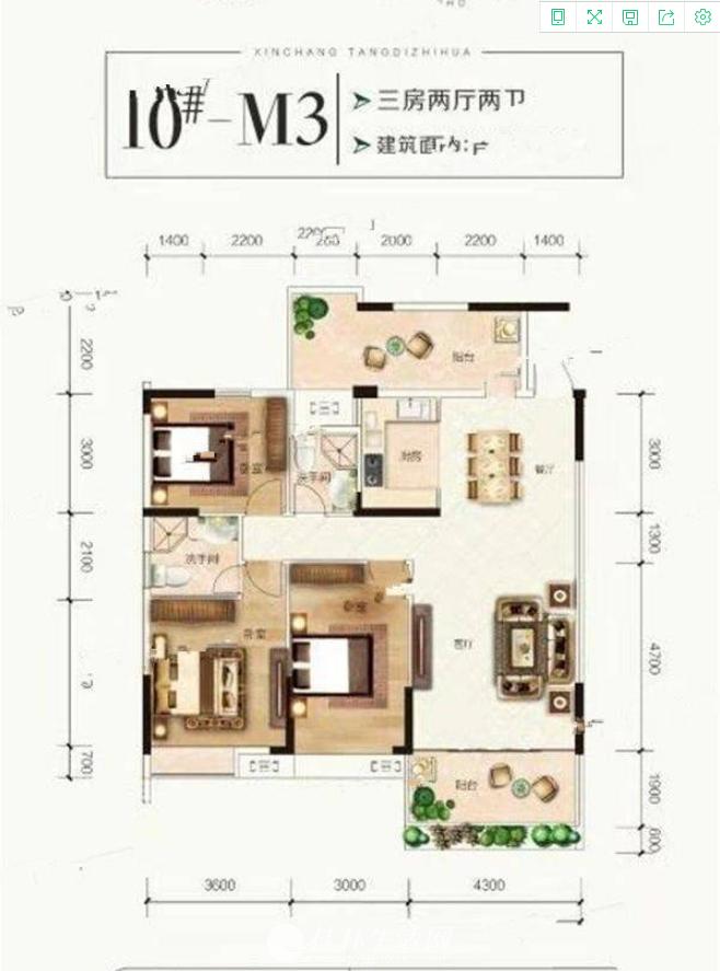 万达广场 棠棣之华5房2厅电梯复式楼 带露台有证随时过户