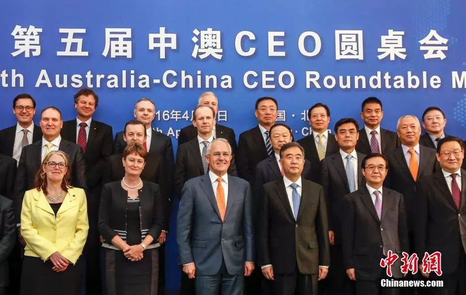 ▲资料图片:2016年4月15日,第五届中澳工商界首席执行官圆桌会在北京举行,中国国务院副总理汪洋(前排右三)与澳大利亚总理特恩布尔(前排左三)共同会见与会企业家。