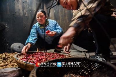 龙宪智来到袁桂花家,鼓励她今年扩大高山辣椒的种植面积。