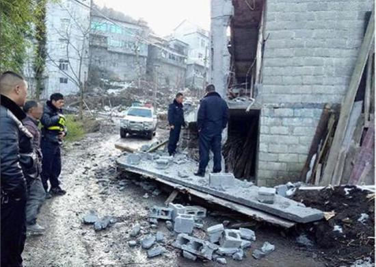 杨先生房屋被拆现场 警方供图