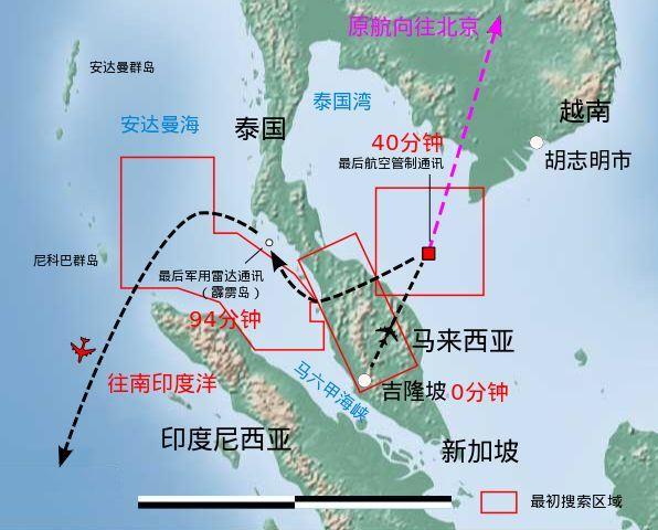 MH370失踪航班飞行轨迹监测图(维基百科)