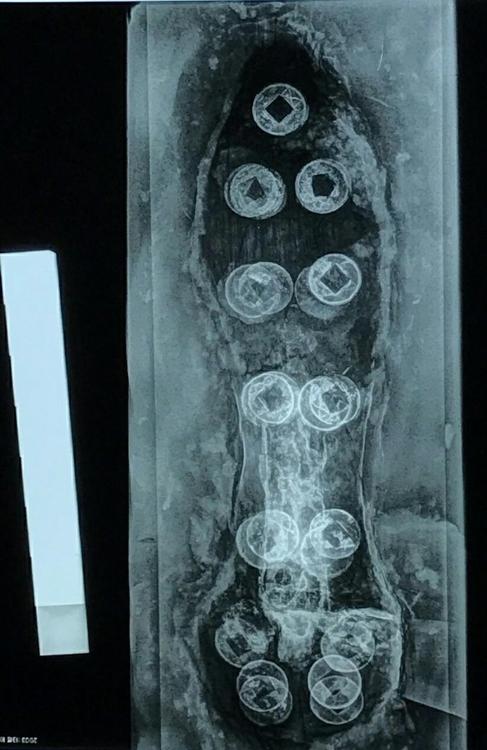 铜戈的X光照片,圆圈为五铢钱