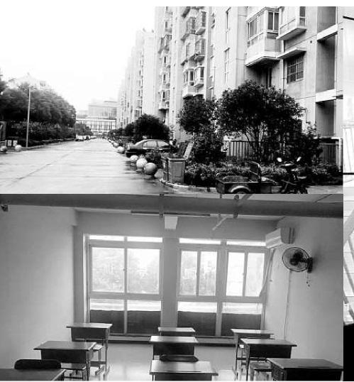 上:案发地小区;下:培训中心课堂;