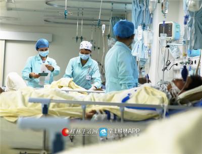 韦妍飞和同事们在ICU病房进行日常查房。