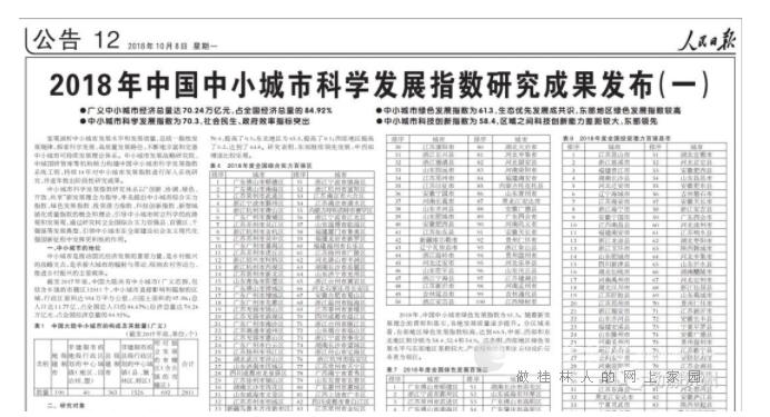 临桂区上榜2018年度全国投资潜力百强区