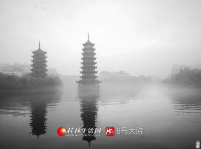 雨雾中的日月双塔,可能是最接近仙境的了,云雾为日月塔增添一份神秘。(图/善者 摄)