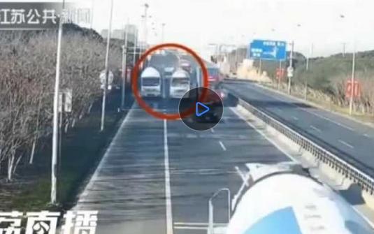 瘋了!兩水泥車車流中高速飆車10分鐘 間距僅幾公分(視頻)