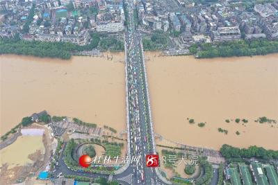 受强降雨影响,我市部分主要河流出现超警水位。据5分快乐8平台—极速快乐8大发官网水文站发布,今天(7日)早上6时55分,漓江出现146.76米的洪峰水位(警戒水位146米),超过警戒水位0.76米,相应流量2710立方米/秒