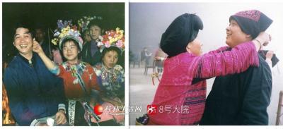 (右图)2004年龙胜龙脊。(左图)1993年融水苗妹扯我的耳朵。