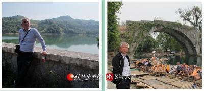 (右图)2012年阳朔白沙遇龙桥边。划船的尽是附近村里农民。(左图)2012阳朔金宝久大水库。
