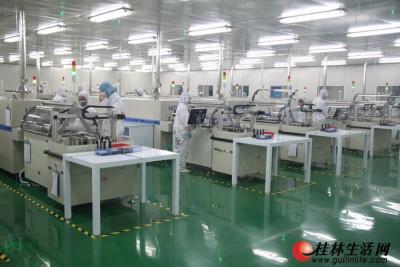 图为桂林尚科光伏技术有限责任公司太阳能电池片生产车间
