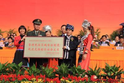 自治区代表团副团长李彬(左四)、万苏晋(左二)向龙胜各族自治县赠送贺匾