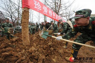子弟兵在园博园工地参加义务植树活动。记者唐艳兰 摄