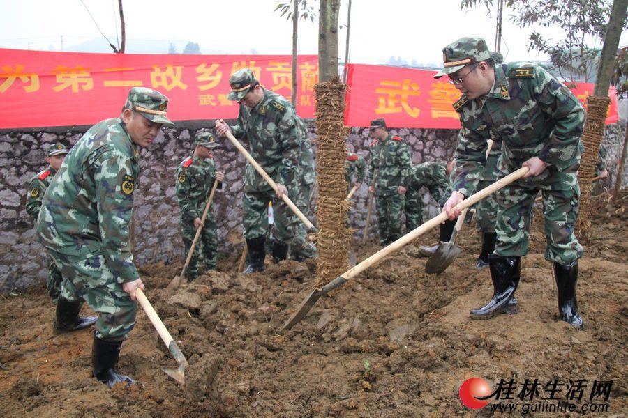 """武警部队官兵参加""""绿满八桂""""植树造林活动"""