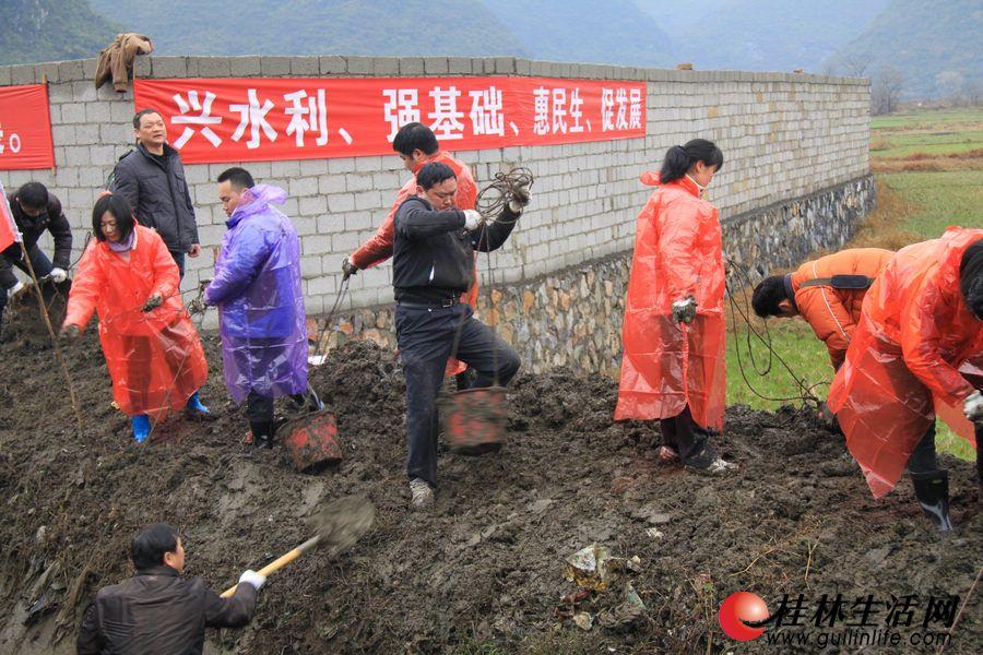广大干部群众大家分工明确,有的在渠道里铲淤泥,有的在岸上运淤泥。经过紧张劳动,约1公里长的渠道被清除干净。
