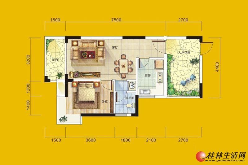 1号楼1号房户型 1室1厅1卫1厨 62.05㎡